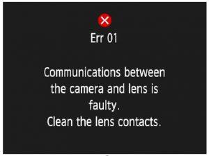 Err 01 (خطا در اتصال لنز به دوربین)